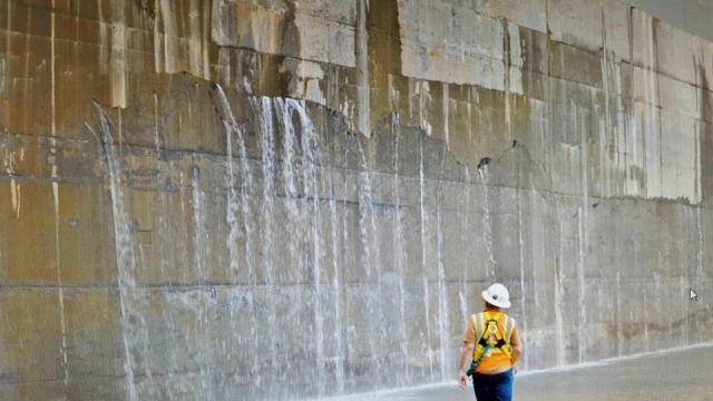 as part of this testing some water seepage was detected in a specific area of the new pacific locks in a section that separates the middle chamber and
